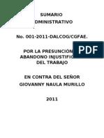 FUERZA AÉREA ECUATORIANA NOTIFICACIÓN SUMARIO 01-2011 ENERO 27 PERSONAL