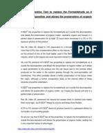 Test K-DeS Comparative Formaldehyde
