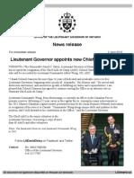 Lieutenant Governor appoints new Chief Aide-de-Camp