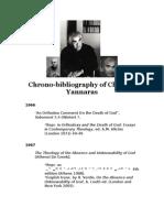 Chrono-Bibliography of Christos Yannaras