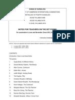Notes for Teachers on IGCSE - OL Set Poems 2013, 2014, 2015