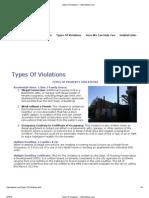 Types of Code Violations - City Violations