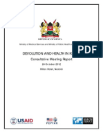 DEVOLUTION AND HEALTH IN KENYA