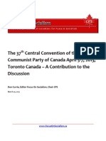 The 37th Central Convention of the Communist Party of Canada April 5-7, 2013, Toronto Canada – A Contribution to the Discussion