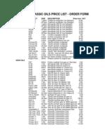 Classic Oils Price List 2005