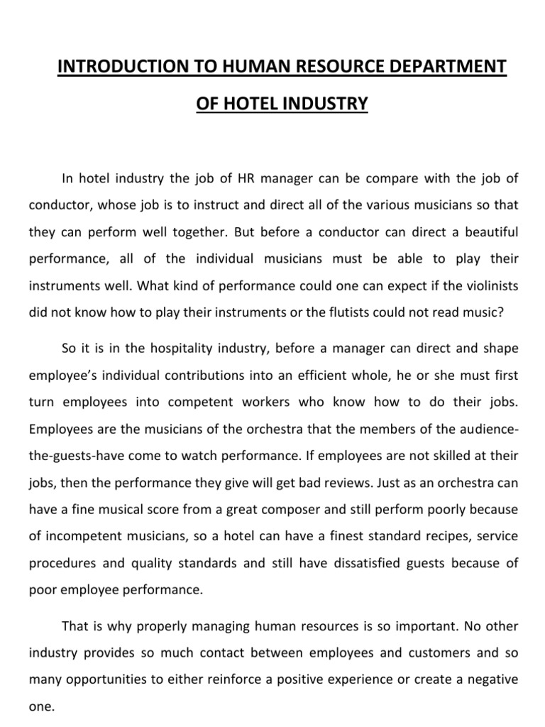 role of hr department in hotel industry human resource role of hr department in hotel industry human resource management welfare