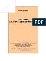 Julien Benda, Discours à la Nation Européenne