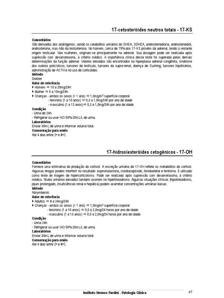 cetosteroides neutros totais
