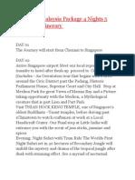 Itnenary Singapore Malaysia