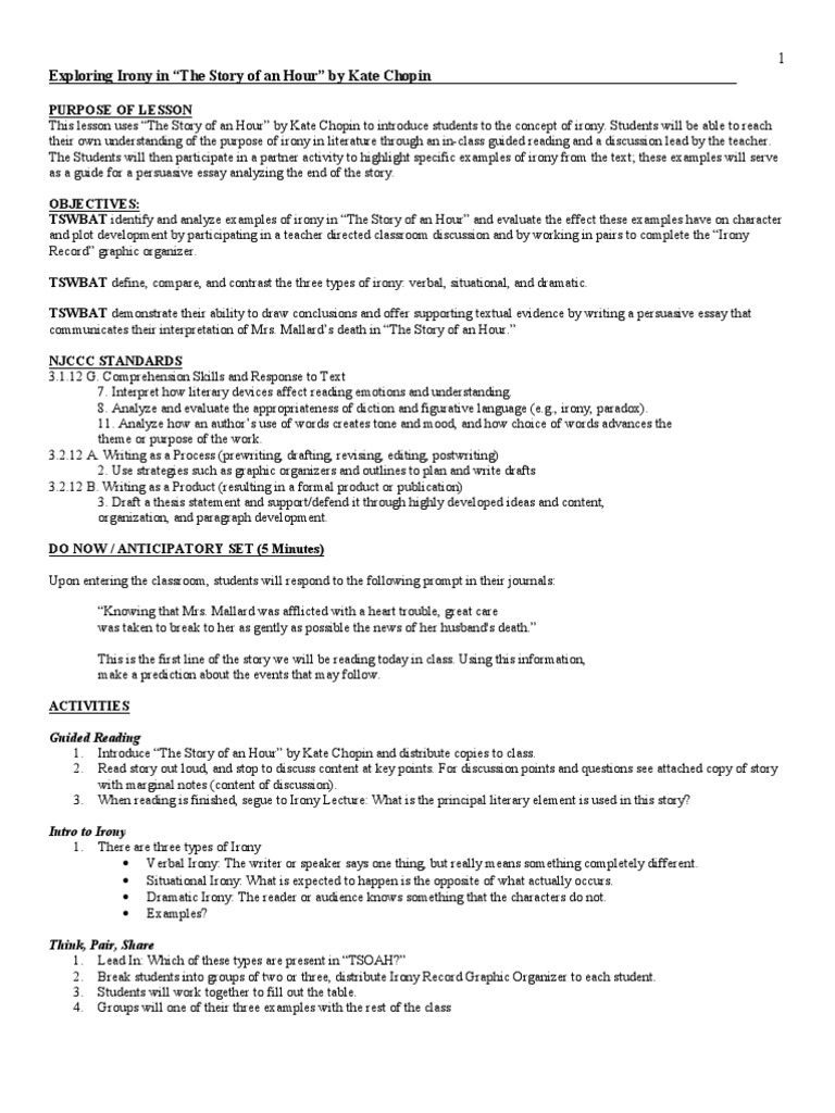 Uncategorized Types Of Irony Worksheet exploring irony the story of an hour argument