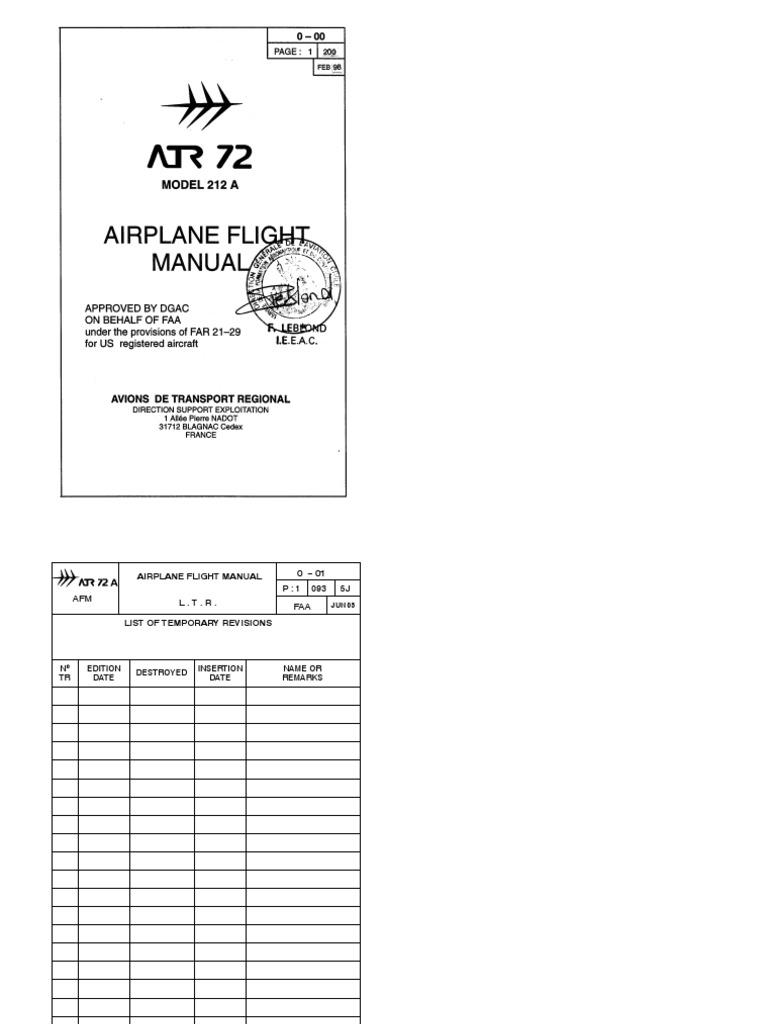 afm atr 72 500 ice aircraft flight control system rh es scribd com Flight Attendant Jobs atr flight crew training manual pdf