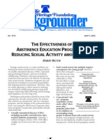 THE EFFECTIVENESS OF ABSTINENCE EDUCATION PROGRAMS IN REDUCING SEXUAL ACTIVITY AMONG YOUTH