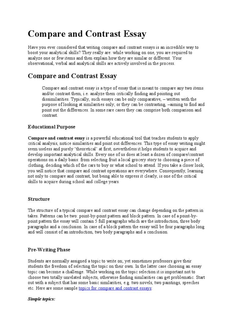 analytical comparison essay