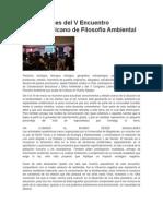 Conclusiones del V Encuentro Latinoamericano de Filosofía Ambiental