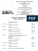 4-5. Schedule of Divine Services; April - May, 2013