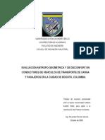EVALUACIÓN ANTROPO-GEOMÉTRICA Y DE DISCONFORT EN CONDUCTORES DE VEHÍCULOS DE TRANSPORTE DE CARGA Y PASAJEROS EN LA CIUDAD DE BOGOTÁ, COLOMBIA