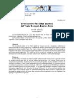 Evaluación de la calidad acústica Teatro Buenos Aires