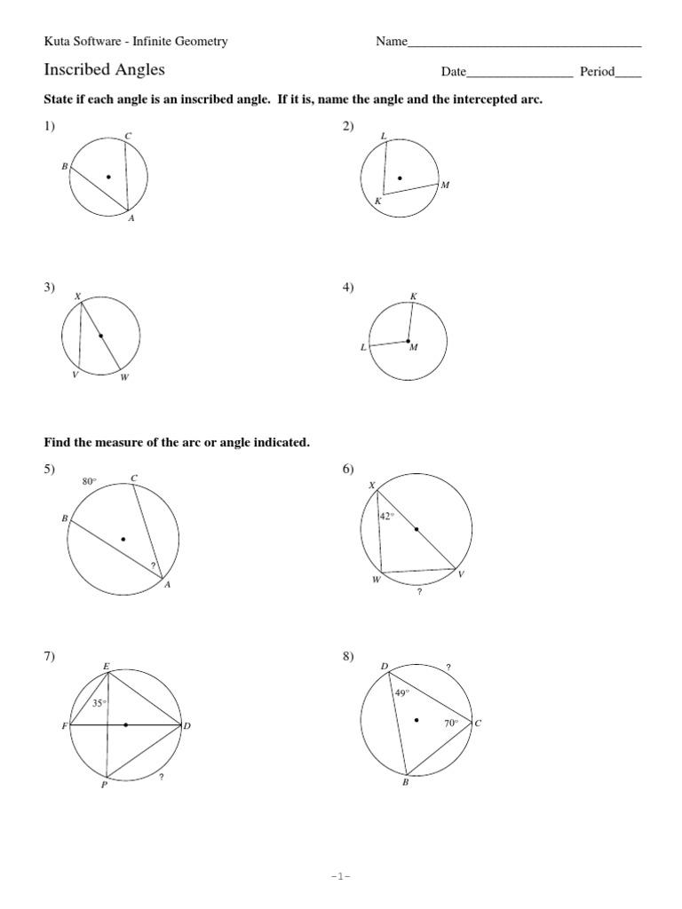 worksheet Inscribed Angle Worksheet 11 inscribed angles angle rotation