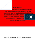 MAS Winter 2009 Slide List