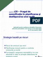 ISA 320 Pragul de Semnificatie in Audit