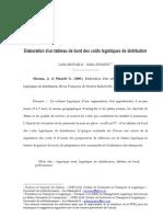 Elaboration d'un tableau de bord des coûts logistiques de distribution