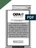 Lineamientos para la aplicación de las medidas correctivas - Ley SINEFA