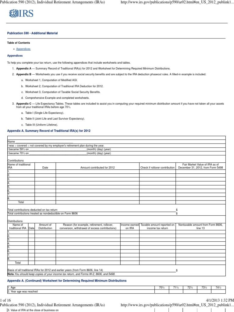 Publication 590 Appendix C, Individual Retirement Arrangements ...