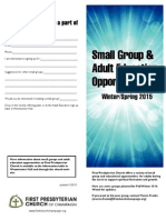Small Groups and Adult Education Opportunties