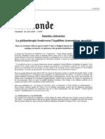 Le Monde - 01/06/2007 - La Philanthropie Bouleverse l Equilibre que Mondial