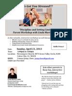 "Parent Workshop Flyer - ""Discipline and Setting Limits"" Parent Workshop with Linda Marten, MSW at Newsong LA"