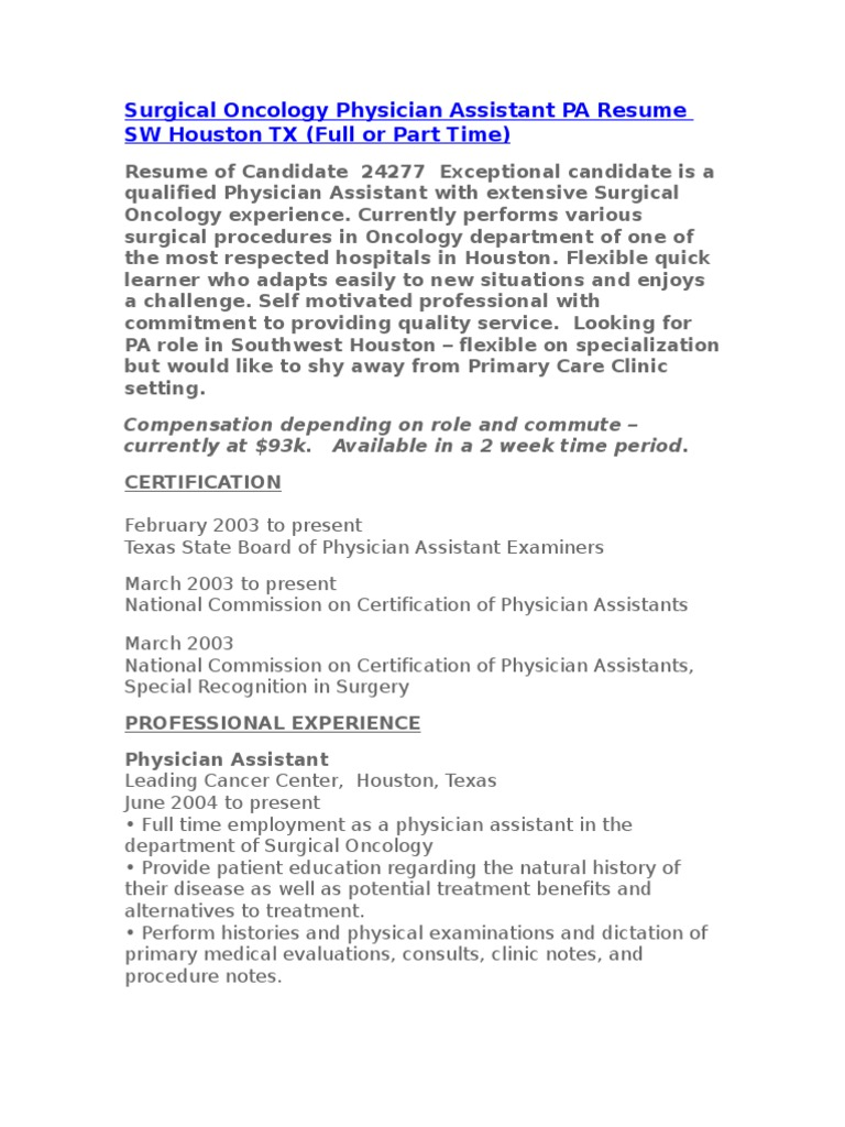 Active Surgical Oncology Physician Assistant Pa Resume Sw Houston Tx