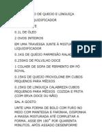 BOLO DE PÃO DE QUEIJO E LINGUIÇA