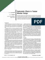 Hydrostatic Effects in Tubular Member Design