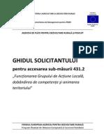 Ghidul Solicitantului Pentru Masura 431, Submasura 431.2, Versiunea 01 - Septembrie 2011
