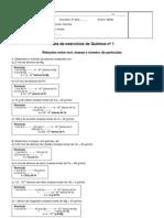 Resolucao Da Lista de Exercicios 1 - Relacoes Entre Mol, Massa, Numero de Particulas e Volume - 1 Bimestre 2013 - 2 Series