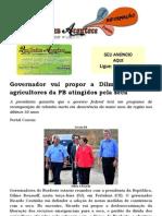 Governador vai propor a Dilma perdão a agricultores da PB atingidos pela seca