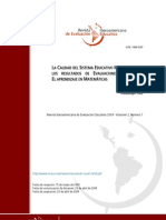 La Calidad Del Sistema Educativo Mexicano Desde Los Resultados de Evaluaciones Nacionales