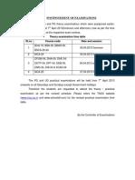 Tamil Nadu Open University - Postponement Of Examinations April 2013 - Time Table