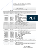 Tamil Nadu Open University - U.G. and P.G. Revised Practical Time Table March 2013