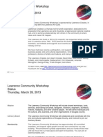 Status of the Lawrence Community Workshop March 28