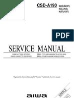 9438 Aiwa CSD-A190 Radiograbador Con Casette y CD Manual de Servicio