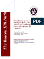 """Peer Review of """"The Economic, Utility Portfolio, and Rate Impact of Clean Energy Development in North Carolina"""""""