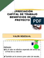 Depreciación, Capital de Trabajo y Beneficios de un  Proyecto