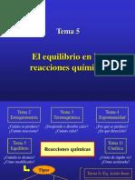 Tema5 Quimica Equilibrio en Reac. Quimicas