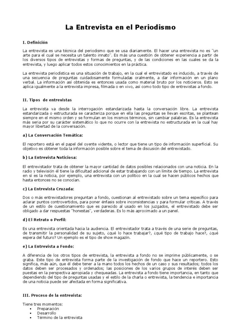 La Entrevista En El Periodismo Introducion General Tipospdf