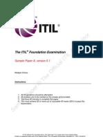 ITIL Foundation Examination SampleA v5.1 DHU 20120731