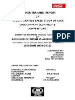 project report on comparative sales study of coca cola