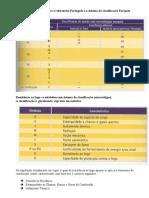 Tabela de equivalência entre o referencial Português e o sistema de classificação Europeu