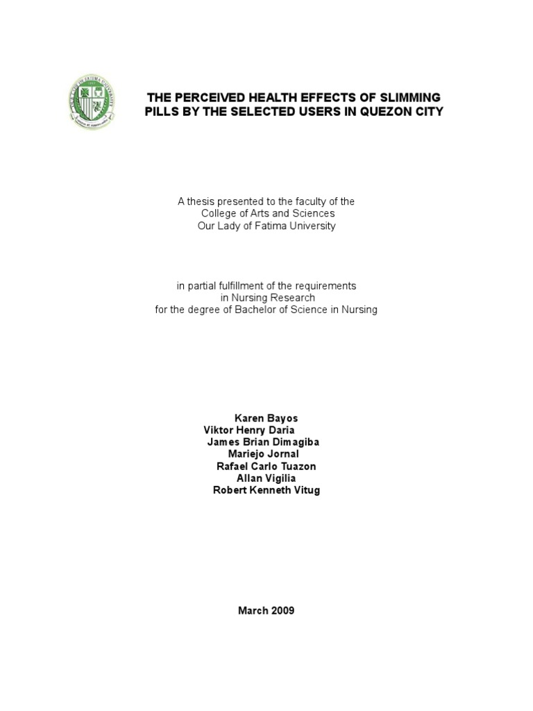 Thesis front page in partial fulfillment