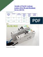 Working Principle of Earth Leakage Circuit Breaker
